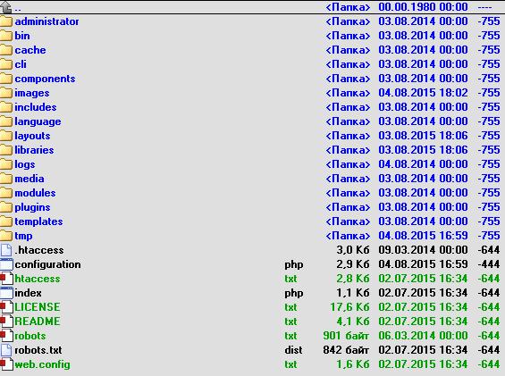Joomla - файлы и папки